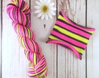 Black-light fluorescent yarn! Evil Genius: Hand-dyed self-striping sock yarn, 80/20 SW merino/nylon