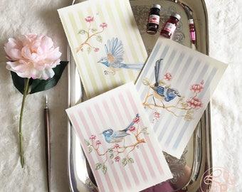 Blue bird print set, Fairy Wren watercolour art print set, A5 art print set of 3, Shabby chic decor art print set, Shabby Chic stripe print