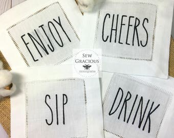 Rae Dunn Inspired Embroidered Cocktail Napkins. Set of 4. Wedding Gift. Hostess Gift. Farmhouse Decor. Custom Words Available on Request