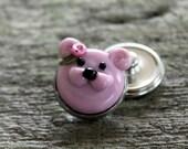 Fantasy Snap Button Bear Bead Pink
