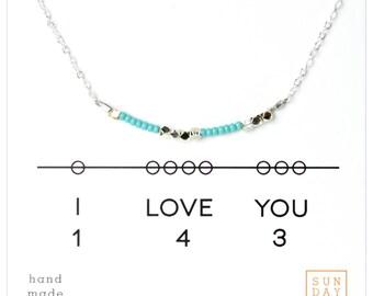 Secret Code Necklace - Friendship Necklace - I love you 143 Necklace - Blue