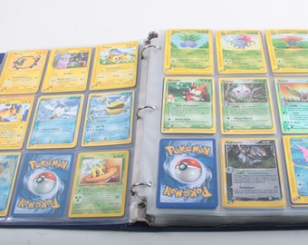 Pokemon Trading Cards Collection, Vintage, Binder, Blue, Pocket Pages, Filled, Stickers On Cover, Large Card Set ~ The Pink Room ~ 170402