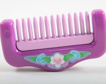 Sweet Secrets, Purple Comb, Vintage, Galoob, Pink, Green, White Flower, Plastic, Hair, Accessory, Missing Handle ~ The Pink Room ~ SS004