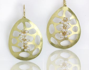 Gold Pebble Cutout Earrings with Pearl Clusters. 18k Gold and Silver.