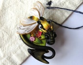 Bumble Bee Dragon Sewing Needle Minder, Summer Bee Sewing Notion, Fairy Rider