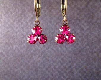 Rhinestone Earrings, Berry Pink Glass Triple Stone Pendants, Brass Dangle Earrings, FREE Shipping U.S.