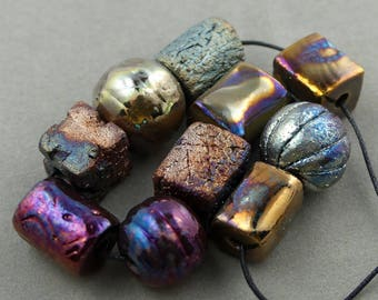 Raku Bead Mix Of Ten