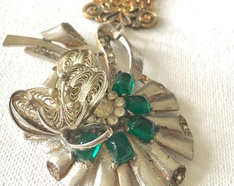 Green Pendant Necklace, Vintage Assemblage Necklace, Watch Fob Necklace