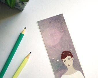 Princess and butterflies - illustrated bookmark