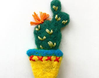 Needle felted wool colourful cactus cacti brooch pin badge