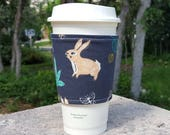 FREE SHIPPING UPGRADE with minimum -  Fabric coffee cozy / cup sleeve / coffee drink sleeve / Bunny Rabbit on Navy