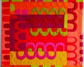Modern Art Quilt, Arches and Tunnels, Pink, Yellow, Green Quilt, Wall Quilt