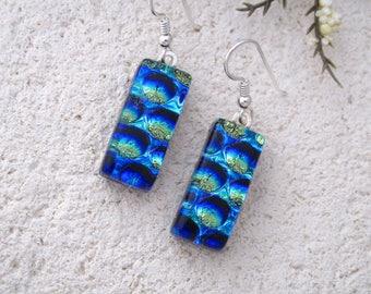 Gold Blue Earrings, Dangle Drop Earrings, Fused Glass Earrings, Dichroic Earrings,  Fused Jewelry, Sterling Silver, Ccvalenzo, 061217e101
