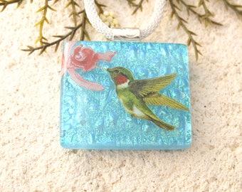 Handmade Hummingbird Necklace, Dichroic Jewelry, Fused Glass Jewekry, Bird Jewelry, OOAK Jewelry, Blue OOAK Necklace, ccvalenzo, 010318p100