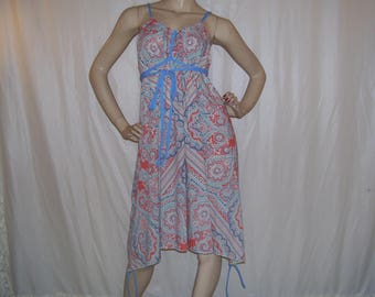 Hippie Sundress Paisley Bandana Dress Red Blue Pastiche Vintage Fabric Boho Cruise Resort Summer Dress Maternity Sundress Adult M L XL Plus