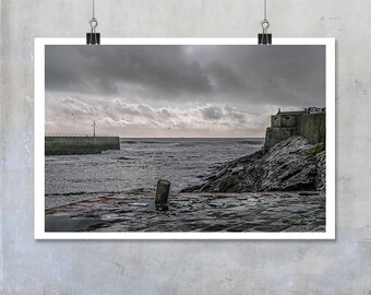 Porthleven winter sea Cornwall coastal dark harbour print wall art home decor photo big print poster