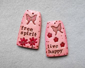 Inspirational Word Charms/Nature Charms - Set of 2 - Free Spirit, Live Happy