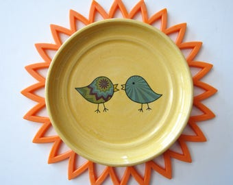Kissing Birds Sunny Yellow Spoon Rest,  Ladle Rest, Glazed in a fun yellow with 2 blue birds, wheel thrown Pottery