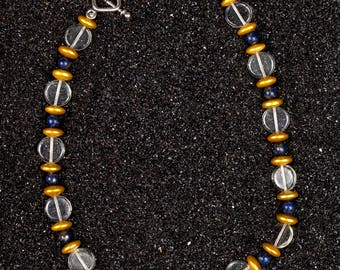 lapis, freshwater pearls, Czech glass, toggle clasp necklace N22