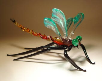 Handmade Blown Glass Figurine Gorgeous Aqua and Clear DRAGONFLY with Red Body and Green Eyes