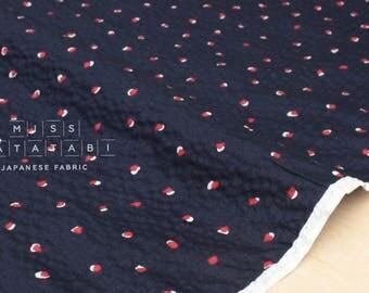 Japanese Fabric Seersucker Petals - navy blue - 50cm
