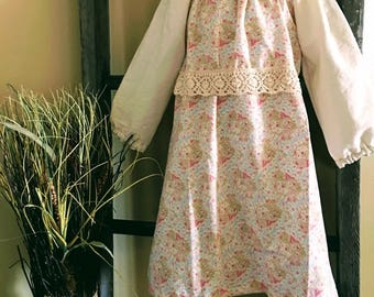 Peasant style girls dusty pink dress with vintage lace waist band