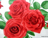 """One Yard Cut Quilt Fabric, Large Red Roses on White, """"Glamour"""" by CHONG-A HWANG for Timeless Treasures, Sewing-Quilting-Craft Supplies"""