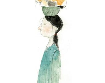 Girl with Cat on head art print