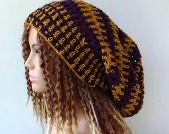 Purple and gold Slouchy Beanie, Hippie Dreadlocks hat, Dread tam, Snood Sock Tam Hat, slouchy hat, summer beanie, team color varsity hat