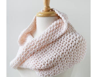 IVORY Siena Merino Wool Hand Knit Infinity Scarf Shoulder Wrap, Neckwarmer, Snood, Shawl, Women's, Chunky, Hygge, Winter, Cozy, Warm, White
