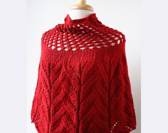 RED Sequoia Merino Wool Knit Capelet, Chunky, Lace, Hand Knit, Made in New York, Soft, Hygge, Sweater, Poncho, Wrap, Cape, Winter