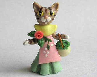 Miniature  Miss Tabby Kitten Cat Girl OOAK by C. Rohal