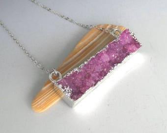 Pink Druzy Bar Silver Necklace