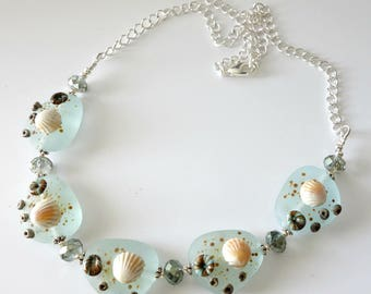 Lampwork Beach Necklace, Aqua, Seashells, Barnacles, Silver Chain, Beaded Jewelry, Beaded Choker Necklace, One of a Kind, Beach Wedding
