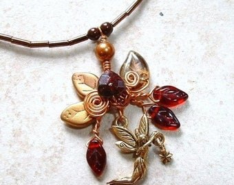 ON SALE Amber Fairy Star Necklace