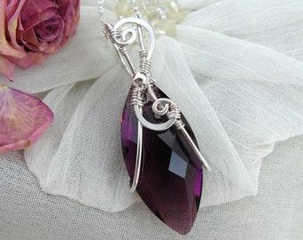 Amethyst Swarovski Pendant ~ Wire Wrapped Swarovski Navette ~ Navette Pendant ~ Marquis Pendant ~Faceted Purple Pendant ~Silver Wire Pendant