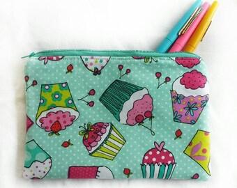 aqua cupcakes zipper pouch, SECONDS, pencil or toiletries travel bag, makeup or cosmetics pouch, ID# ZP16