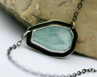 Faceted Aquamarine Necklace, Modern Random Irregular Facet Aquamarine Necklace-Caribbean Seas Necklace