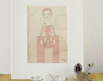 Queen Anne Doll Original Watercolor No. 1 by Lana Manis, Early American, Primitive, Folk Art, Ready to Frame