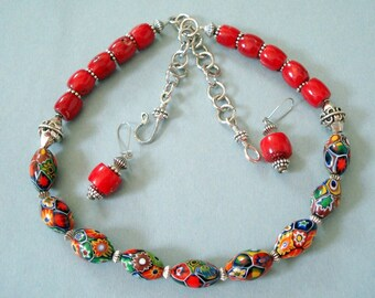 Vintage Venitian  Murano Glass and Branch Coral Beads, Necklace with Earrings