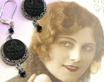 """Antique LACY BUTTON earrings, Victorian clovers in black glass on silver. 2.25"""" Present, gift."""