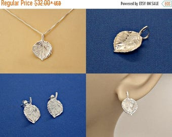 SALE Aspen Tree Leaf Set Sterling Silver Pendant Charm Necklace and Earrings Customize no. 1984 - 3502
