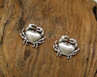 SALE Earrings Crab Sterling Silver Cancer Zodiac Beach Ear Studs no. 3433