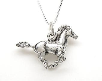 SALE Horse Galloping Mustang Sterling Silver Equestrian Animal Charm Pendant Customize no. 2255