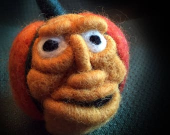 Halloween Pumpkin Head, Smiling Pumpkin, Pumpkin Pincushion, Halloween Decoration, Decor, Felted Sculpture, Whimsical, Fun, Charming Face