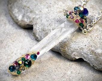 Quartz Shard Pendant - Crystal point - Quartz Necklace - Quartz Point Jewelry - Crystal Shard - Rhinestone necklace - gemstone necklace