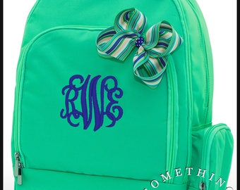 Buckingham Collection Monogrammed Backpack and Hairbow, Personalized School Bags for Girls, Mint Bookbags for kids, matching hairbow