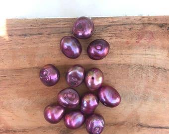Pink Fushia Fresh Water Potato Pearl beads.   9-10mm x 9-10mm.   95 Loose  Pearlsh