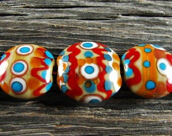 Dreamy Painted Southwest Style...5 Handmade Lampwork Red Turquoise Brown Lentil Square Glass Bead Set With Focal Sra