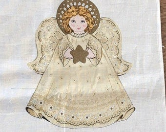 Vintage Fabric Panel to sew a Christmas Angel for centerpiece of Christmas tree topper Free US Shipping